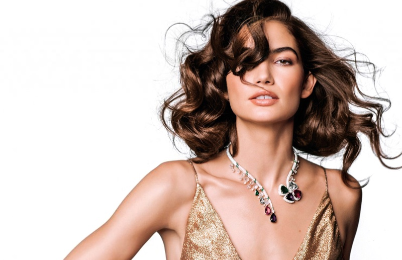 Model Lily Aldridge poses in Gucci dress with Bulgari necklace