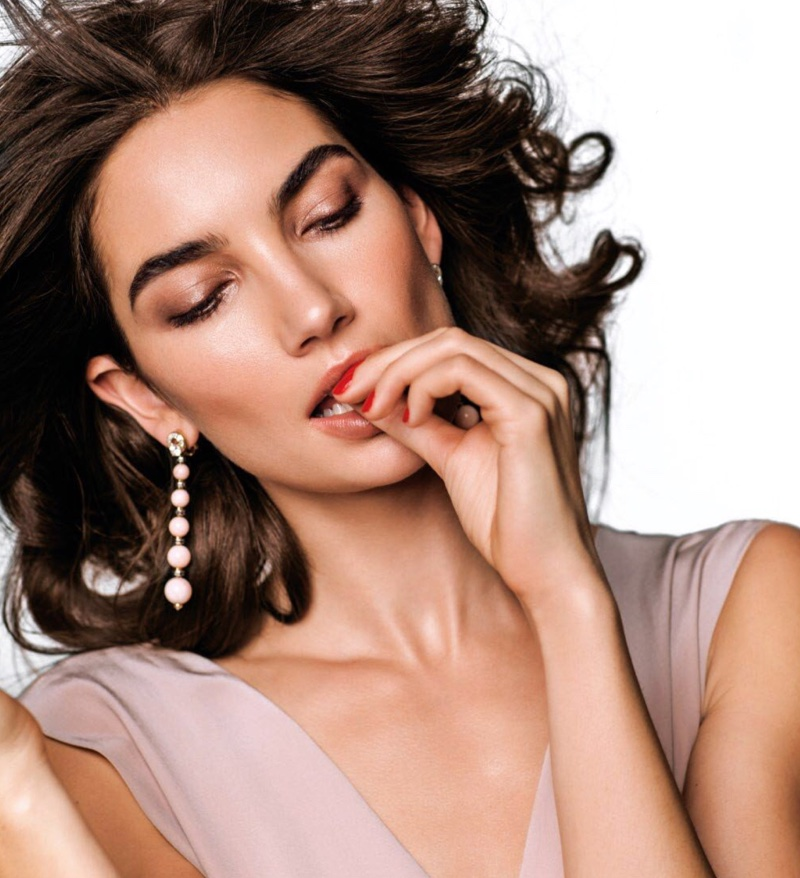 Looking pretty in pink, Lily Aldridge models Fendi dress and Bulgari dangle earrings