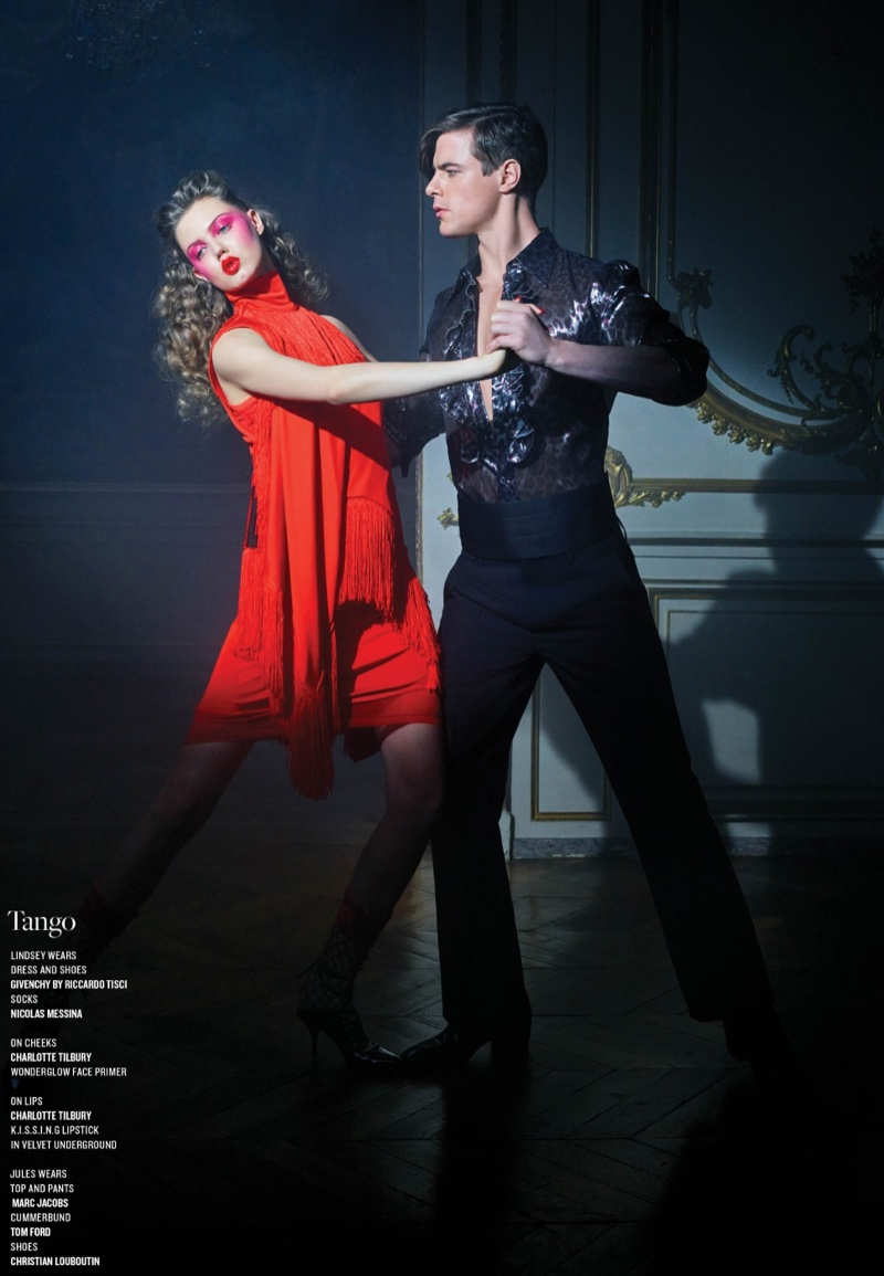 Looking red-hot, Lindsey Wixson models Givenchy dress and shoes