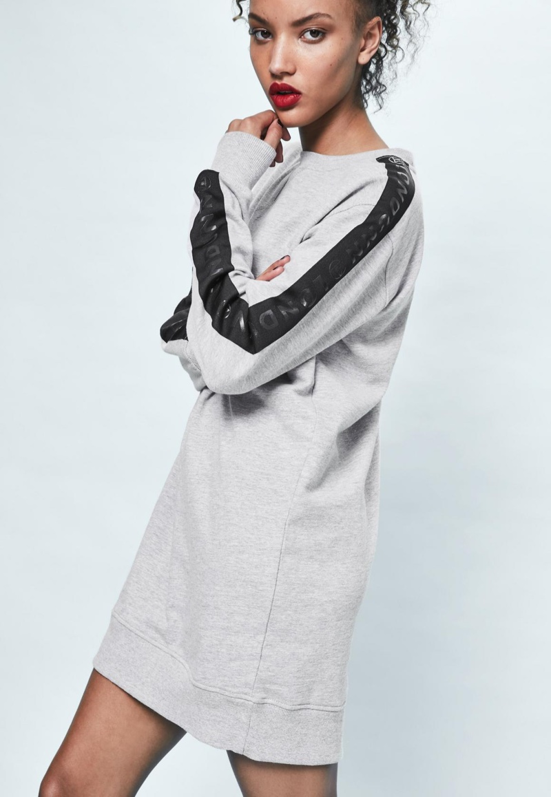 Londunn x Missguided Grey Oversized Logo Sleeve Sweater Dress