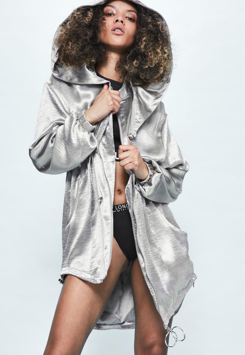 Londunn x Missguided Silver Hammered Satin Duster Jacket