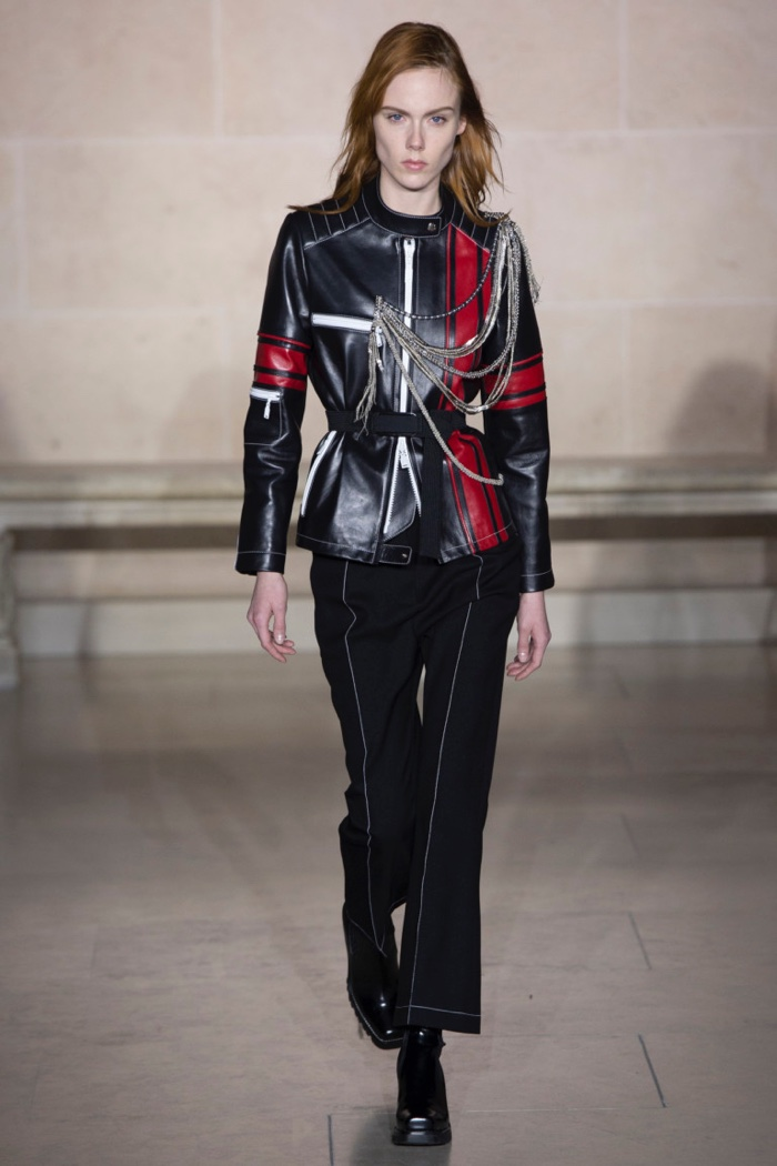 32b202203ec2 Leather jacket with chain detail over wool pants from Louis Vuitton s fall-winter  2017 collection