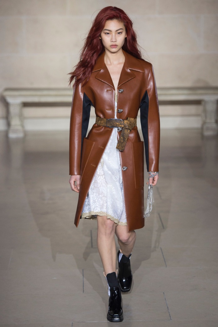 ae10861aba4c Brown leather coat over floral brocades and lace trim from Louis Vuitton s  fall-winter 2017
