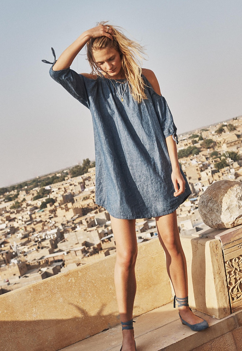 Madewell Chambray Cold Shoulder Dress and April Ankle Wrap Flat