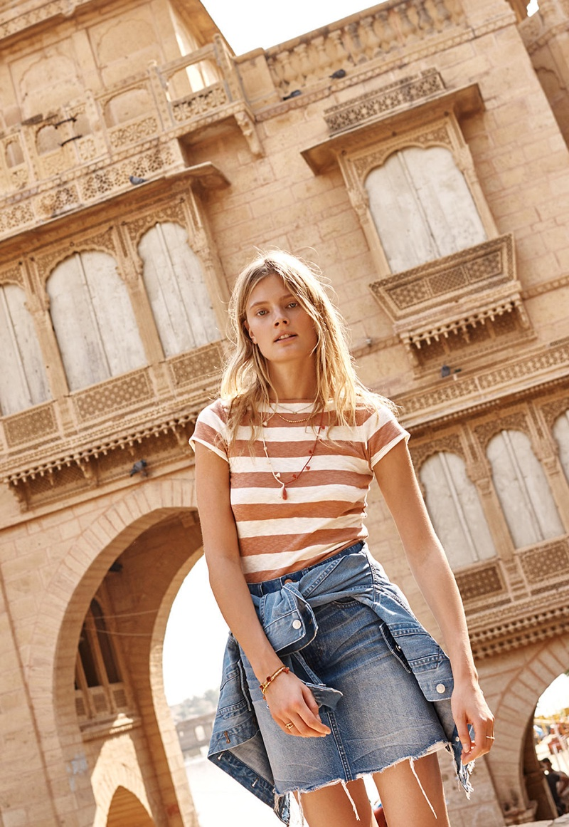 Madewell Musical Tee in Rugby Stripe, Distressed Collarless Jean Jacket and McCarren Raw Hem Jean Skirt