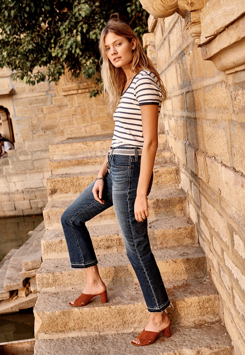 Madewell Recycled Cotton Ringer Tee, Retro Crop Bootcut Jeans and Greer Mule Sandal