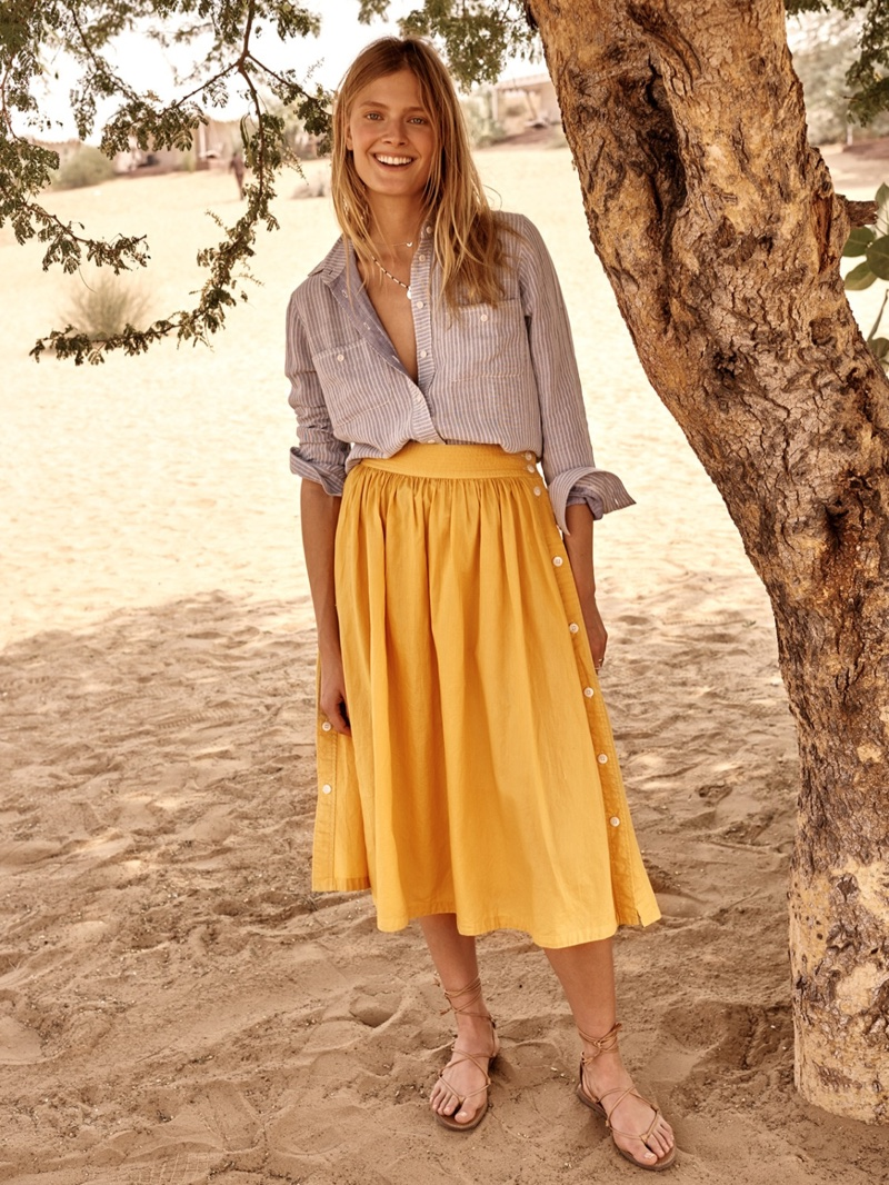 Madewell Striped Tie-Back Shirt, Side Button Skirt and Boardwalk Lace-Up Sandal