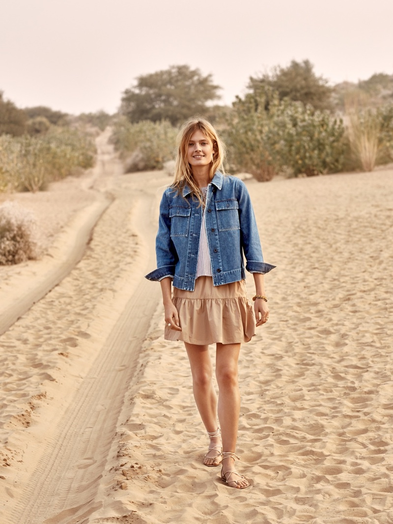 Madewell Northward Cropped Army Jacket, Striped Tank Top, Khaki Ruffle-Hem Skirt and Boardwalk Lace-Up Sandal