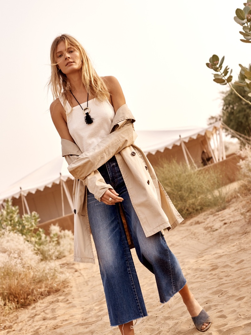 Madewell Abroad Trench Coat, The Apron Cross-Back Tank and Wide-Leg Crop Jeans