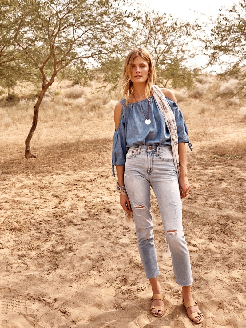 Madewell The Indigo Cold-Shoulder Top, Perfect Summer Jean and Mariel Buckle Sandal