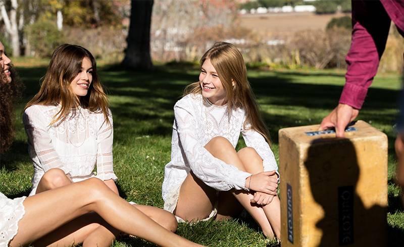 Models Kaia Gerber and Sofia Mechetner on set at Marc Jacobs' Daisy Fragrance
