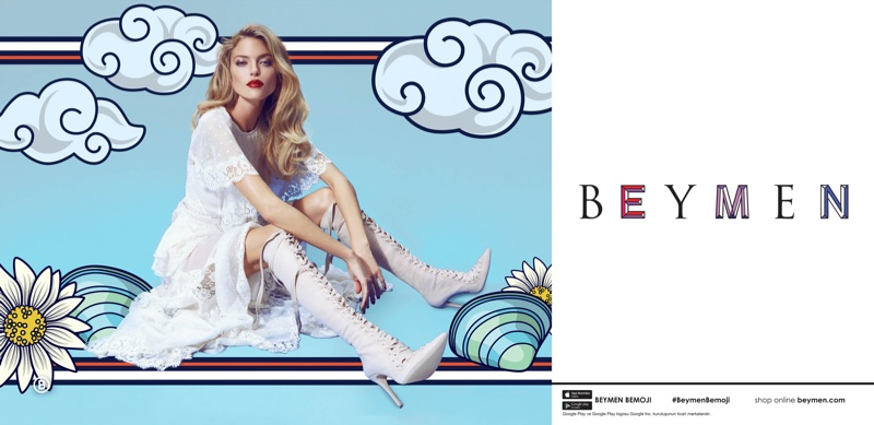 Dressed in white lace, Martha Hunt appears in Beymen's spring-summer 2017 campaign