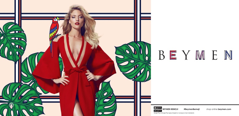 Martha Hunt wears red Balmain wrap dress in Beymen's spring-summer 2017 campaign