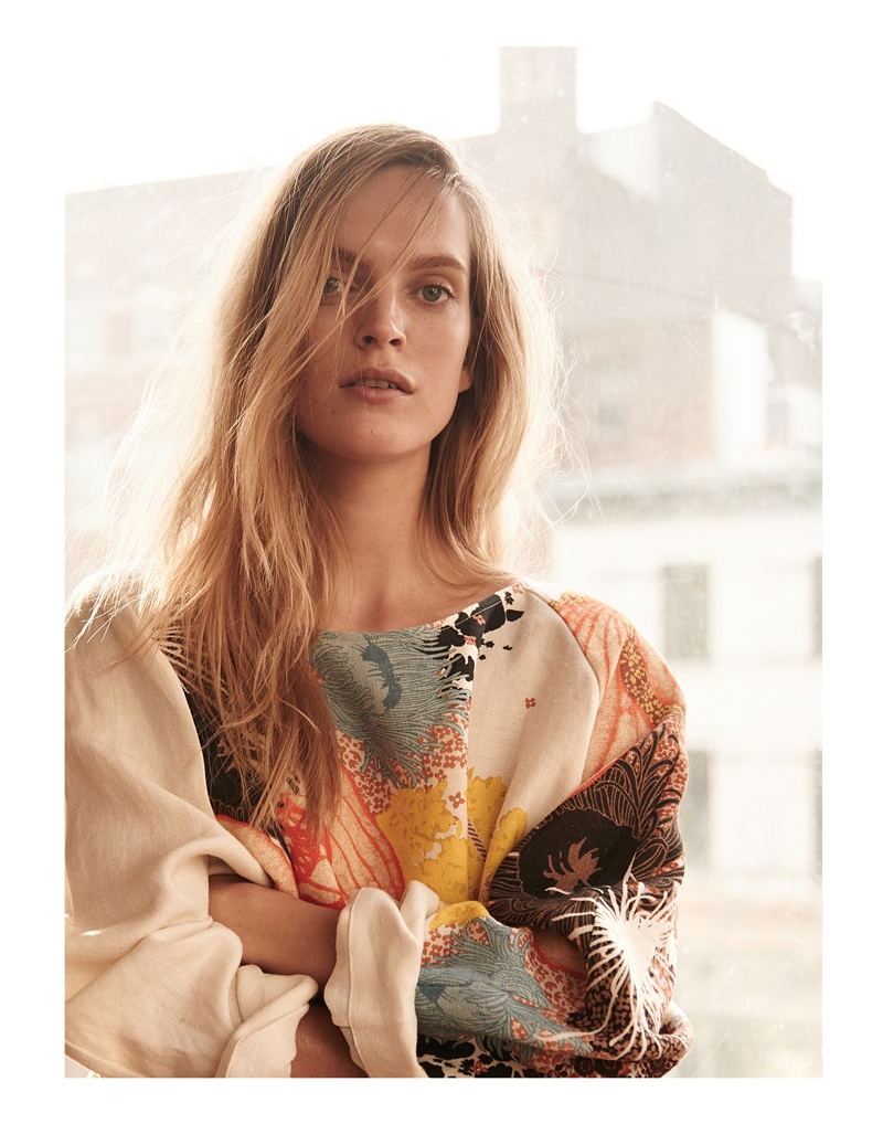Photographed by Kevin Sinclair, Mirte Maas poses in the spring collections