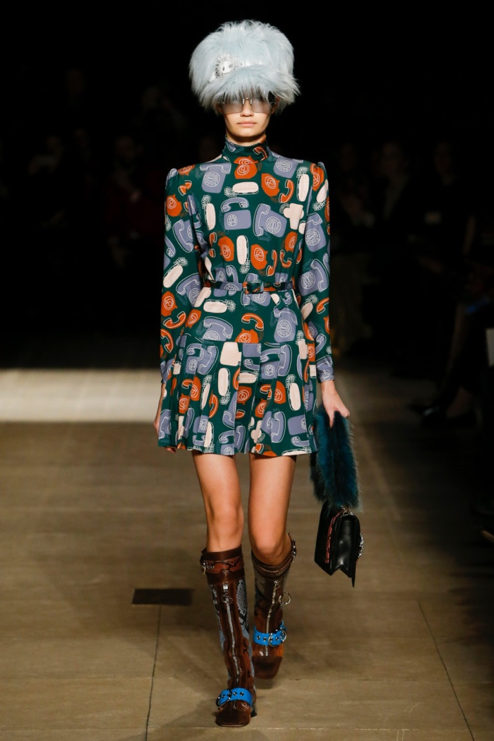 High-necked printed dress with flared skirt from Miu Miu's fall-winter 2017 collection