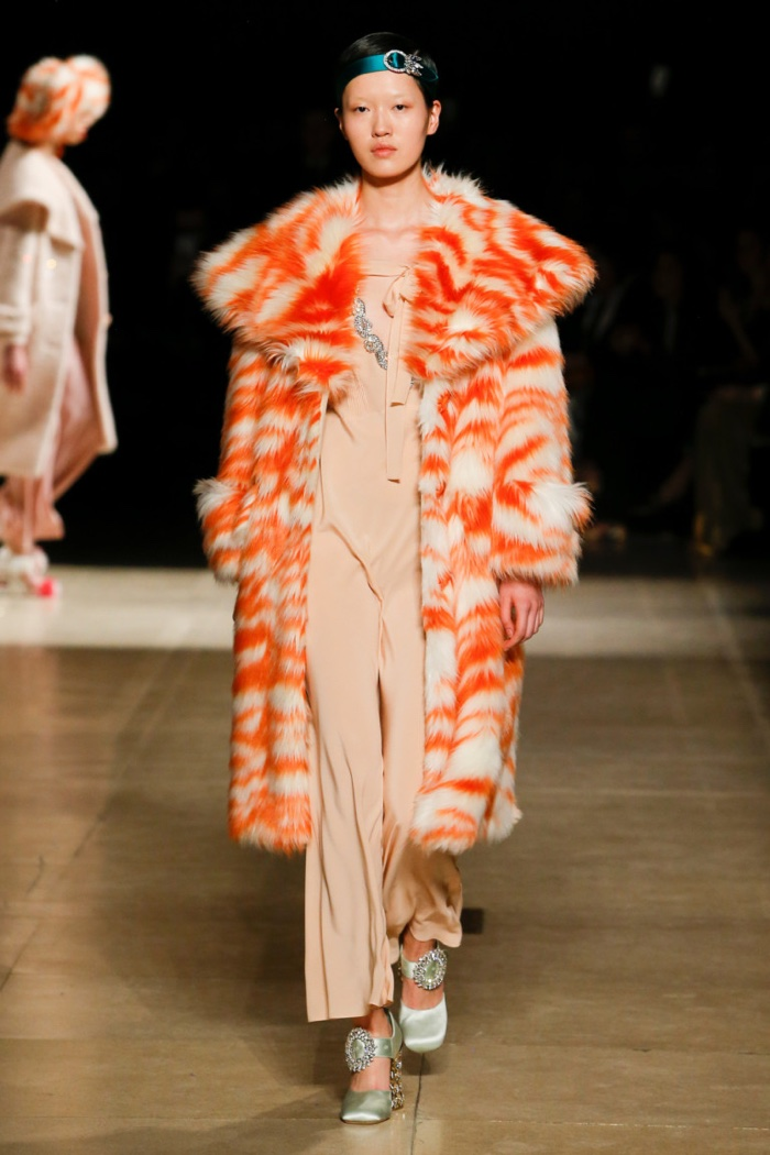 Multicolored fur coat over relaxed jumpsuit from Miu Miu's fall-winter 2017 collection