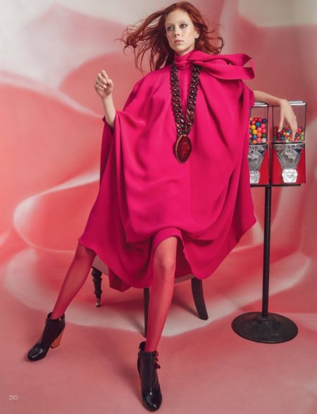 Natalie Westling wears pink cape dress from Valentino
