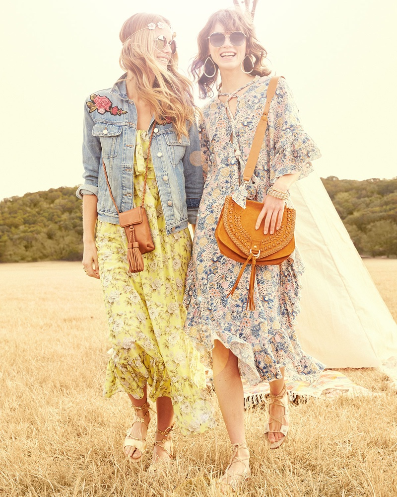 (Left) FRAME Le Original Patch Jacket and Robert Rodriguez Floral-Print Tiered Maxi Slip Dress (Right) See by Chloe Floral Ruffle-Trim Midi Dress