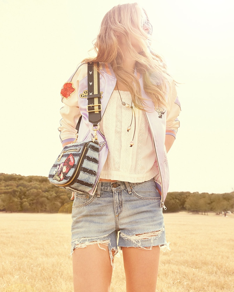 Opening Ceremony Fairytale Embroidered Silk Reversible Bomber Jacket, Current/Elliott The Eyelet Lace Tank Top, rag & bone/JEAN Distressed Boyfriend Shorts and Marc Jacobs Nomad Small Striped Denim Saddle Bag