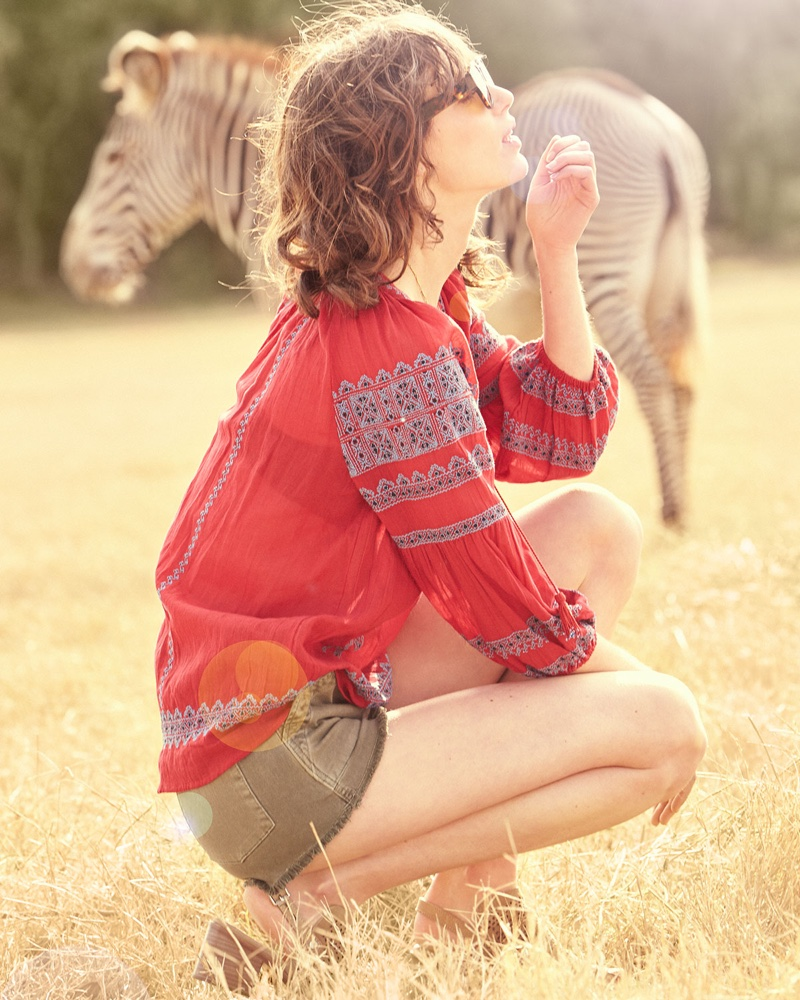 Joie Gauge Embroidered Peasant Top and Hudson Mika High-Rise Military Shorts with Raw Hem
