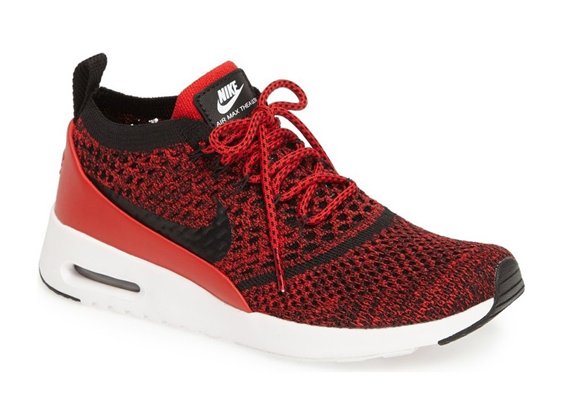 Nike Air Max Thea Ultra Flyknit Sneaker in Red/Black/White $150