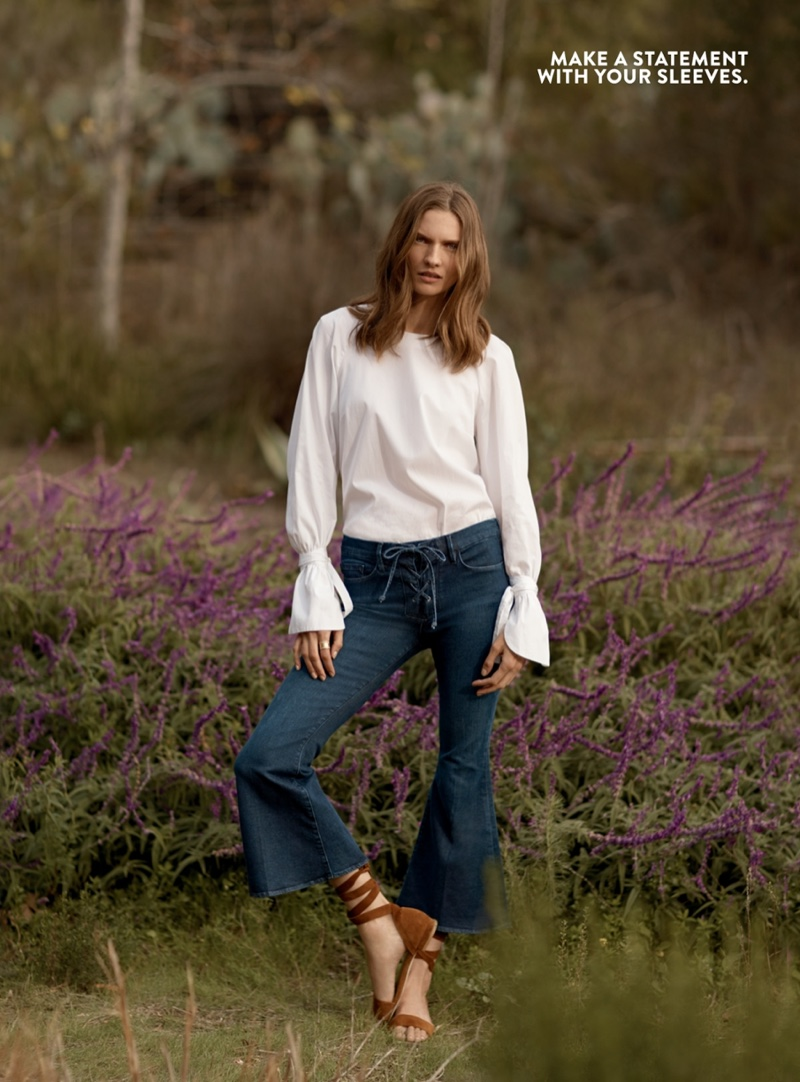 FRAME Voluminous Cuff Poplin Blouse $245, FRAME Le Crop Bell Lace-Up Jeans in Hayworth $255 and Stuart Weitzman Corbata Sandal $398