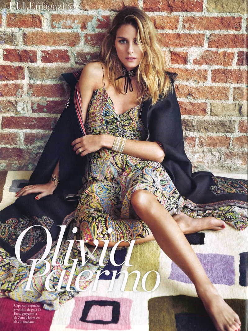 Actress Olivia Palermo wears Etro jacket and cape with printed dress