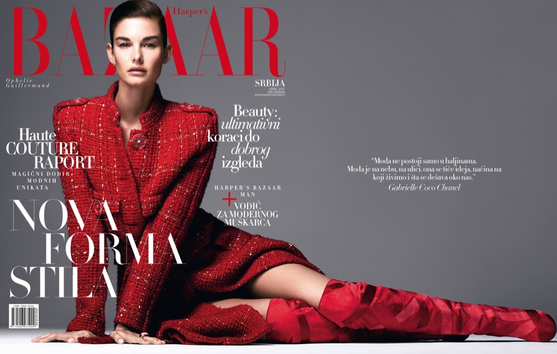 Ophelie Guillermand on Harper's Bazaar Serbia April 2017 Cover