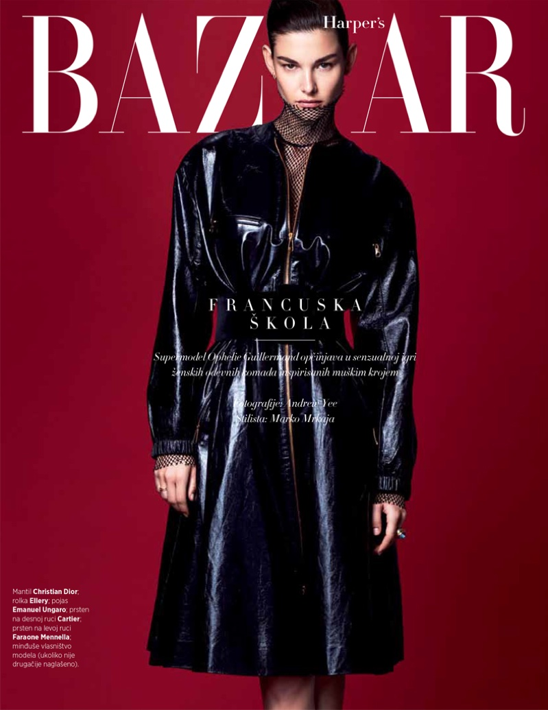 Photographed by Andrew Yee, Ophelie Guillermand poses for Harper's Bazaar Serbia