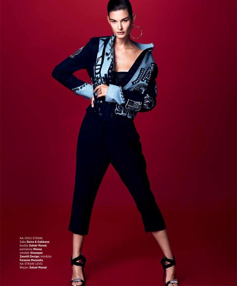 Ophelie Guillermand models Dolce & Gabbana jacket, Zuhair Murad bustier, Monse pants and Giuseppe Zanotti sandals