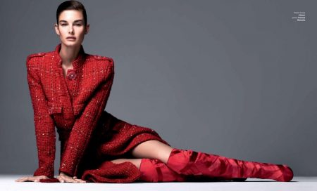 Ophelie Guillermand Looks Sharp in Harper's Bazaar Serbia Cover Story