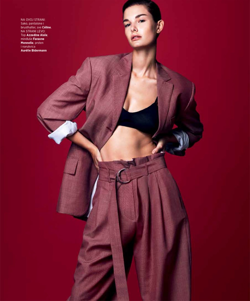 Suiting up, Ophelie Guillermand poses in Celine jacket, pants and top