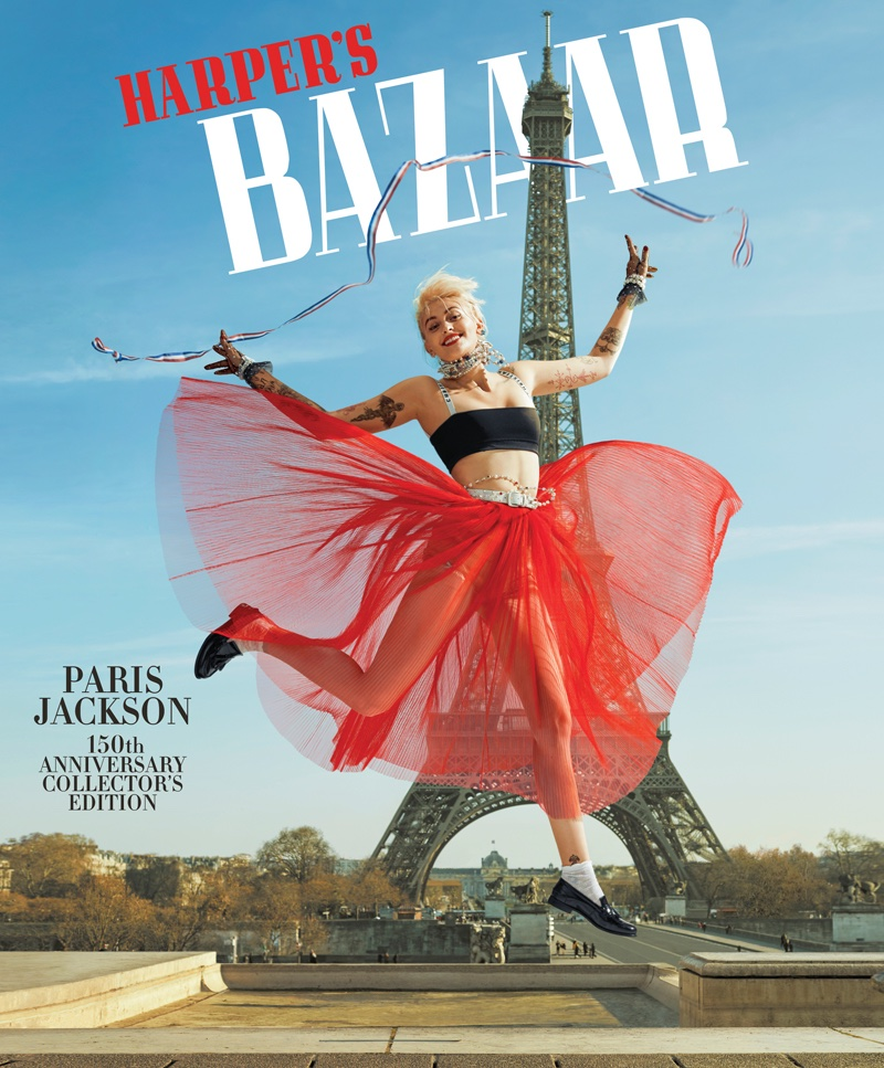 Posing in front of the Eiffel Tower, Paris Jackson wears Dior bra and skirt