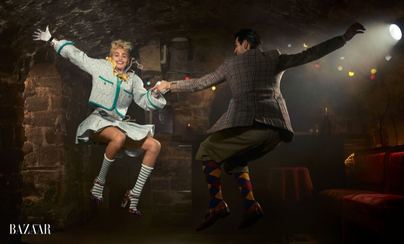 Taking on swing dancing, Paris Jackson wears Chanel jacket and skirt with Dolce & Gabbana heels