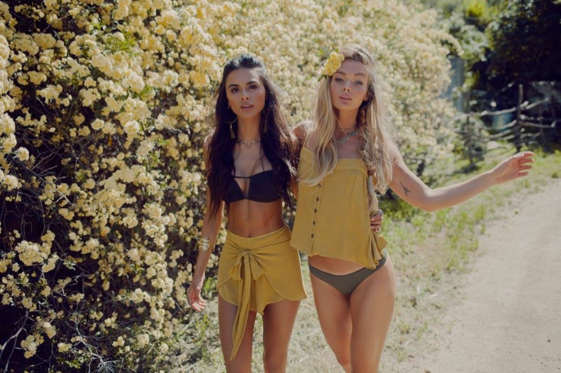 (Left) Blue Life I'm With the Band Bandeau Smock Top and Wrap Star Tie Front Shorts (Right) Blue Life Mohave Button Front Cami and Island Fever Brazilian Bottom