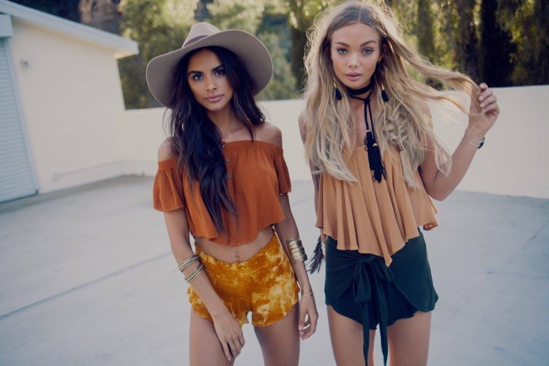 (Left) Blue Life Ojai Crop Top and Festival Beach Bunny Shorts (Right) Blue Life Dancing Queen Crop Top and Wrap Star Tie Front Shorts