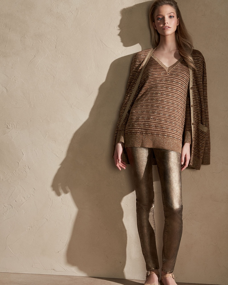 Ralph Lauren Collection Metallic Deco Knit V-Neck Sweater and 105 Washed Cigarette Jeans