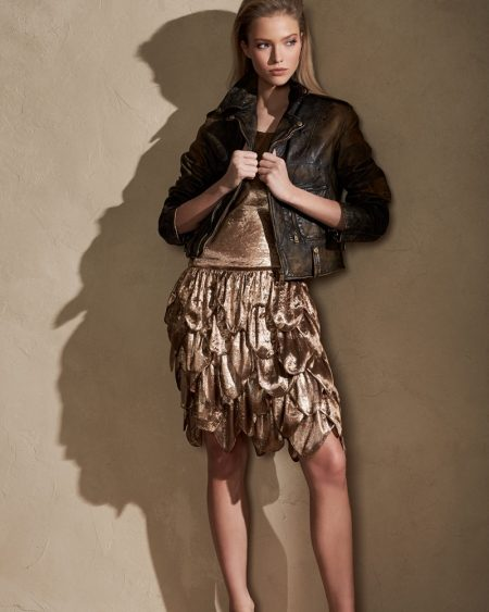 Ralph Lauren Collection Dara Tiered Sleeveless Dress and Dwight Distressed Leather Jacket