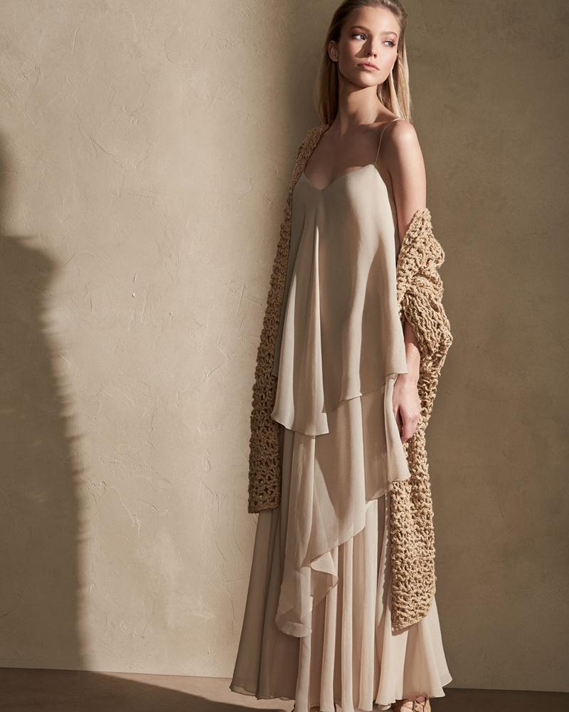 Ralph Lauren Collection Mesh Long Open Cardigan and Bernadine Tiered Chiffon Slip Gown