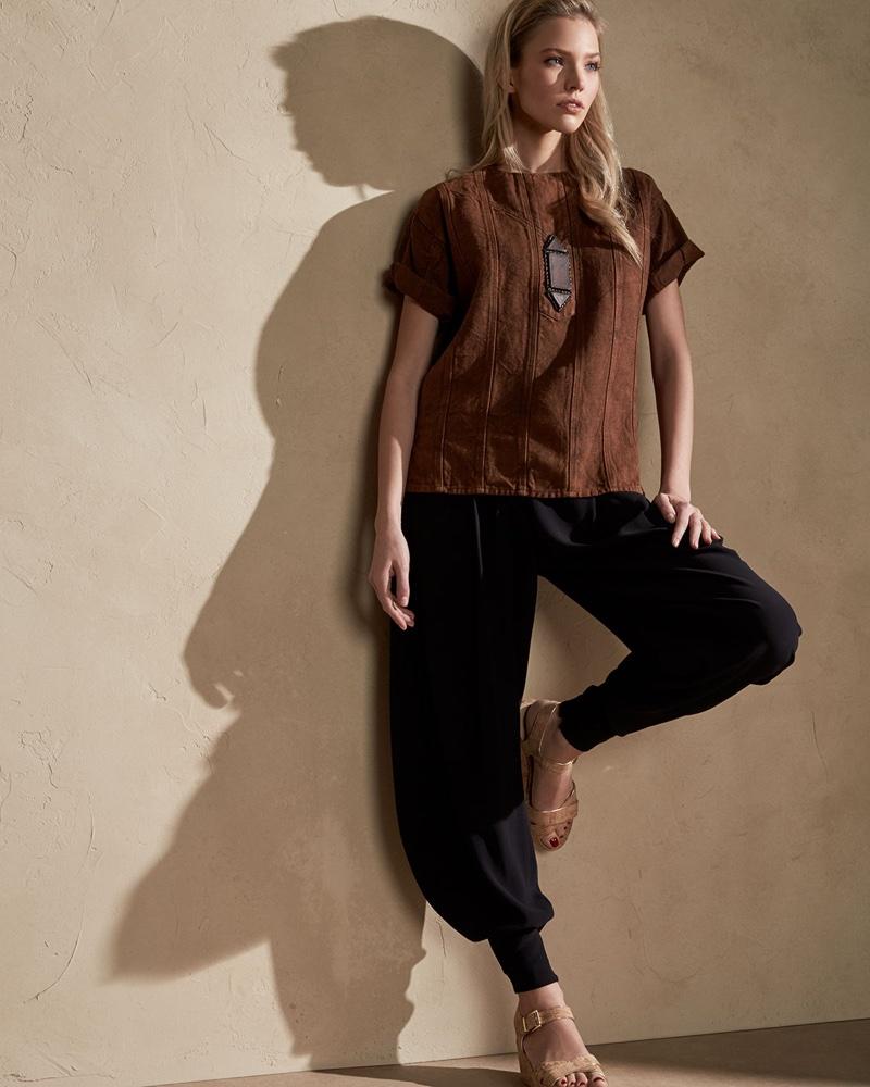 Ralph Lauren Collection Sahara Heavy Linen Tee and Kersten Draped Harem Pants