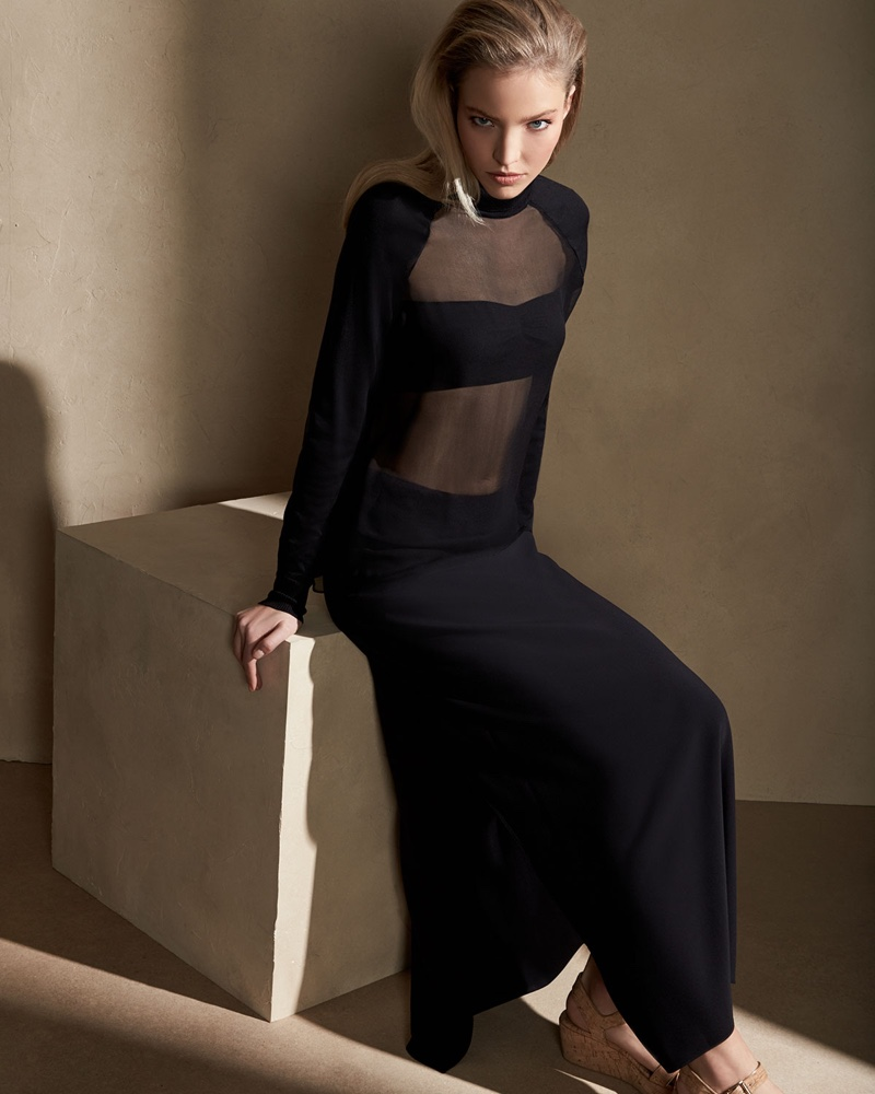 Ralph Lauren Collection Anneliese Long Cady Skirt and Sheer-Panel Turtleneck Top & Bandeau