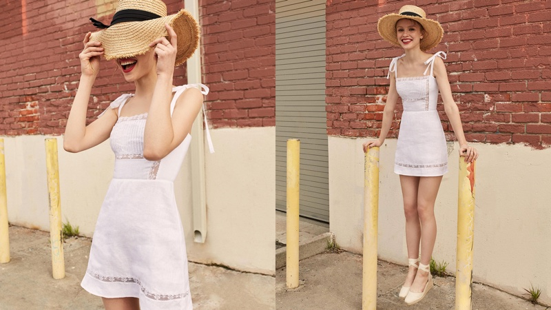 Reformation Domingo Dress in White $198