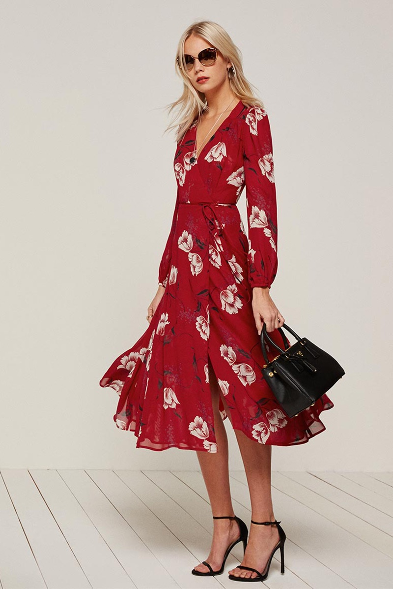 The Chelsea Wrap Dress Comes In A Red Fl Print