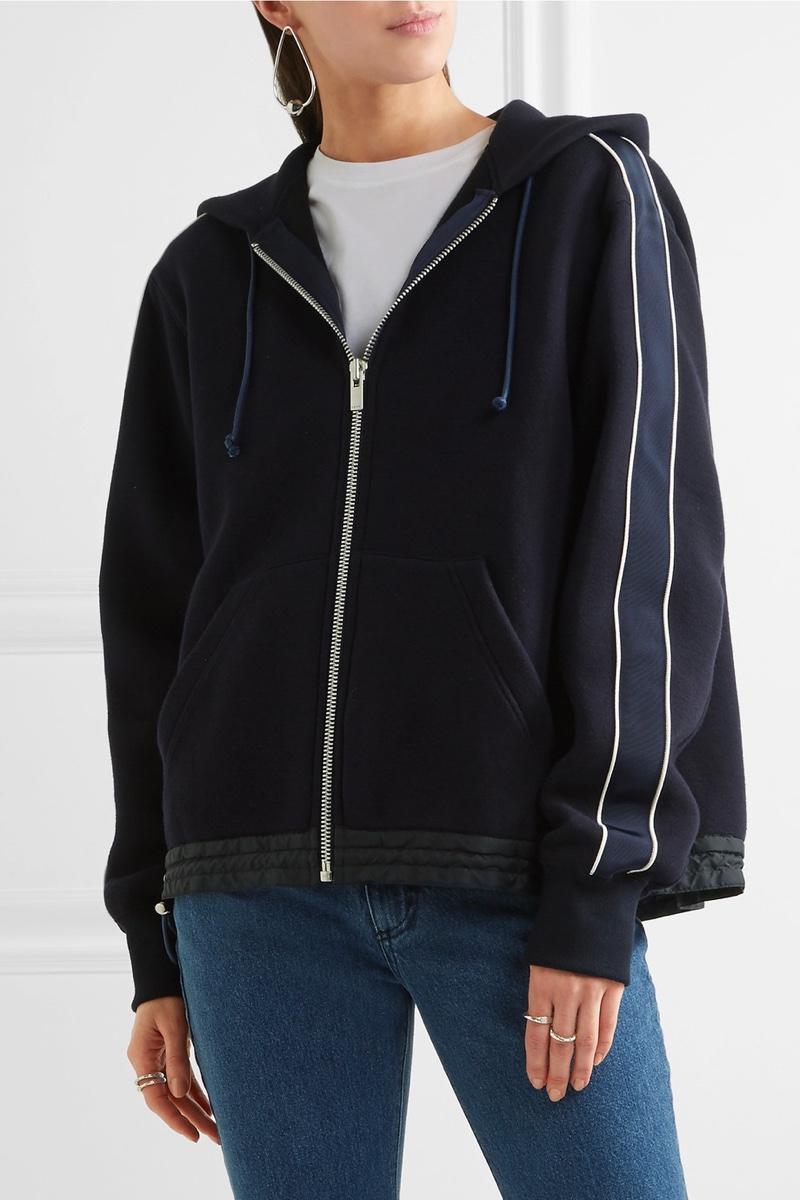 Sacai Grosgrain-Trimmed Cotton-Blend Jersey Hooded Top $540