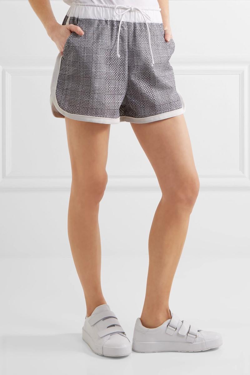 Sacai Laser-Cut Prince of Wales Checked Cotton-Jacquard Shorts $495