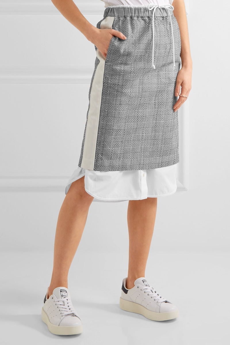 Sacai Laser-Cut Prince of Wales Checked Jacquard Cotton-Poplin Midi Skirt $635