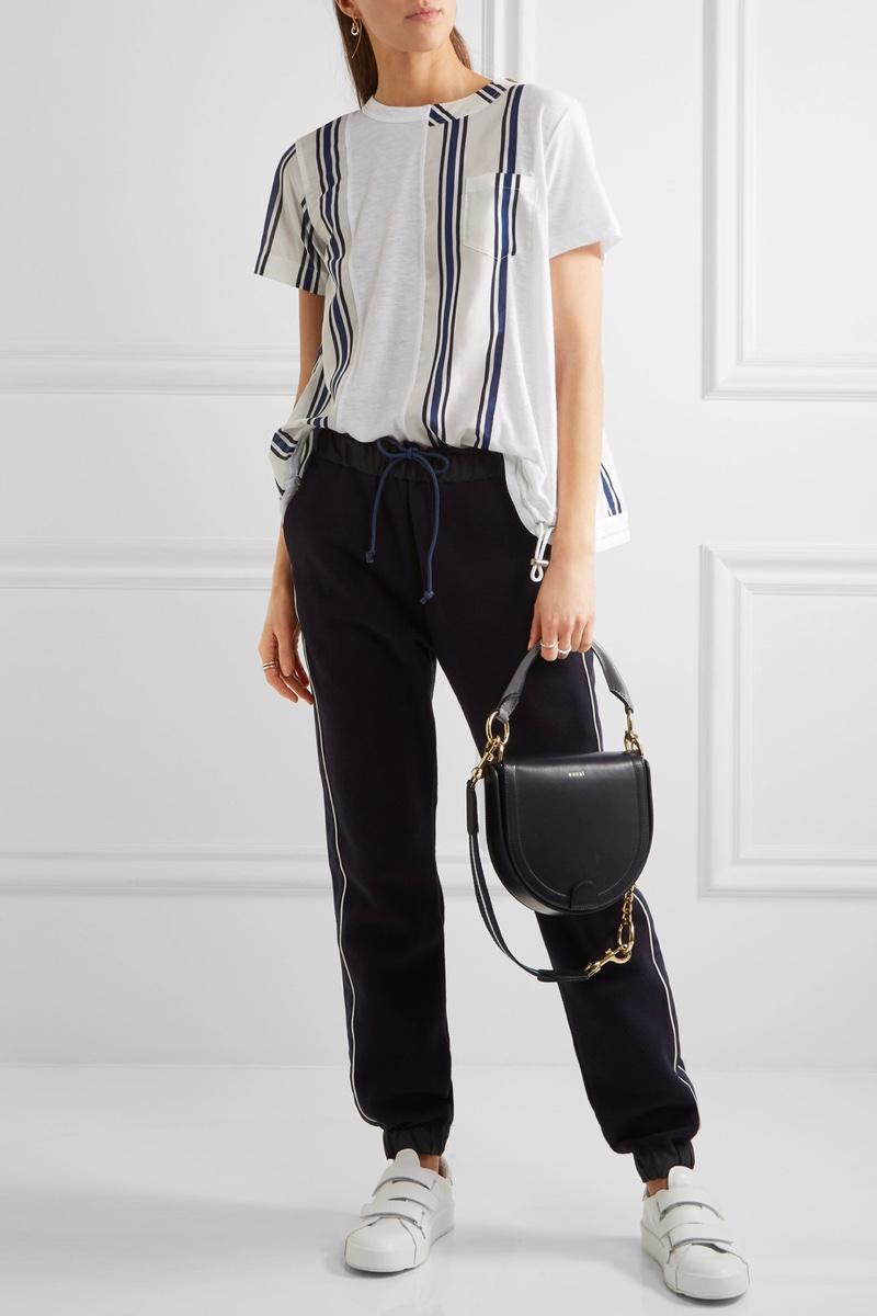Sacai Striped Linen-Blend and Slub Jersey T-Shirt $375