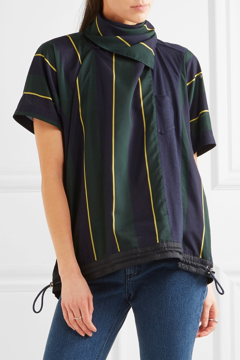 Sacai Striped Linen-Blend T-Shirt