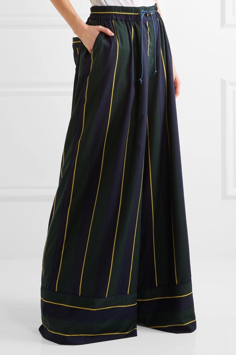 Sacai Striped Voile Wide-Leg Pants $870