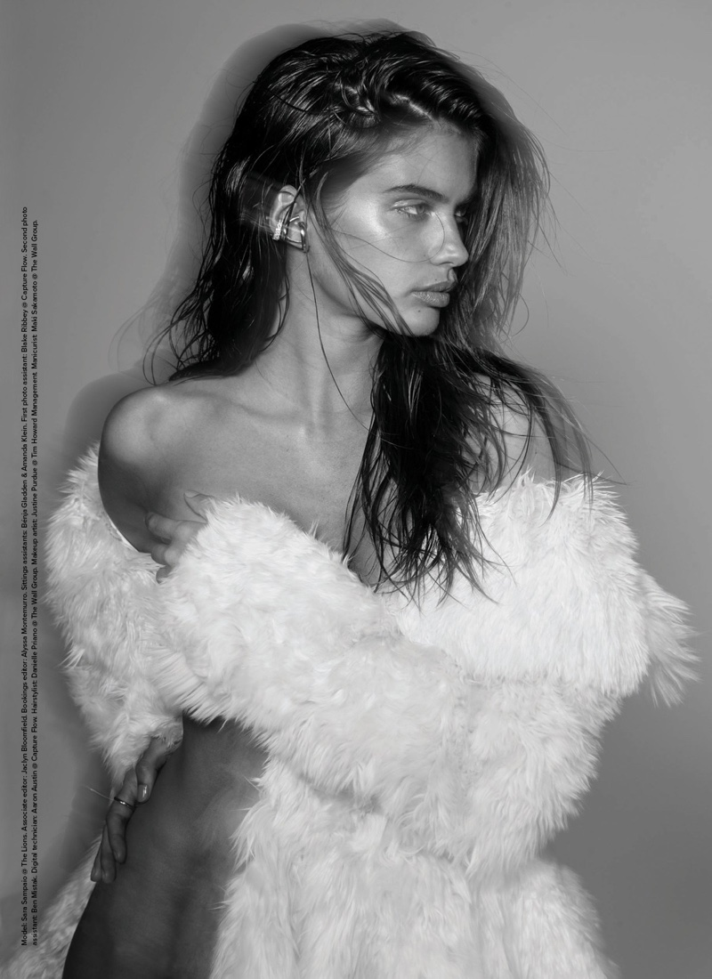 Sara Sampaio poses in furry Azzedine Alaia jacket
